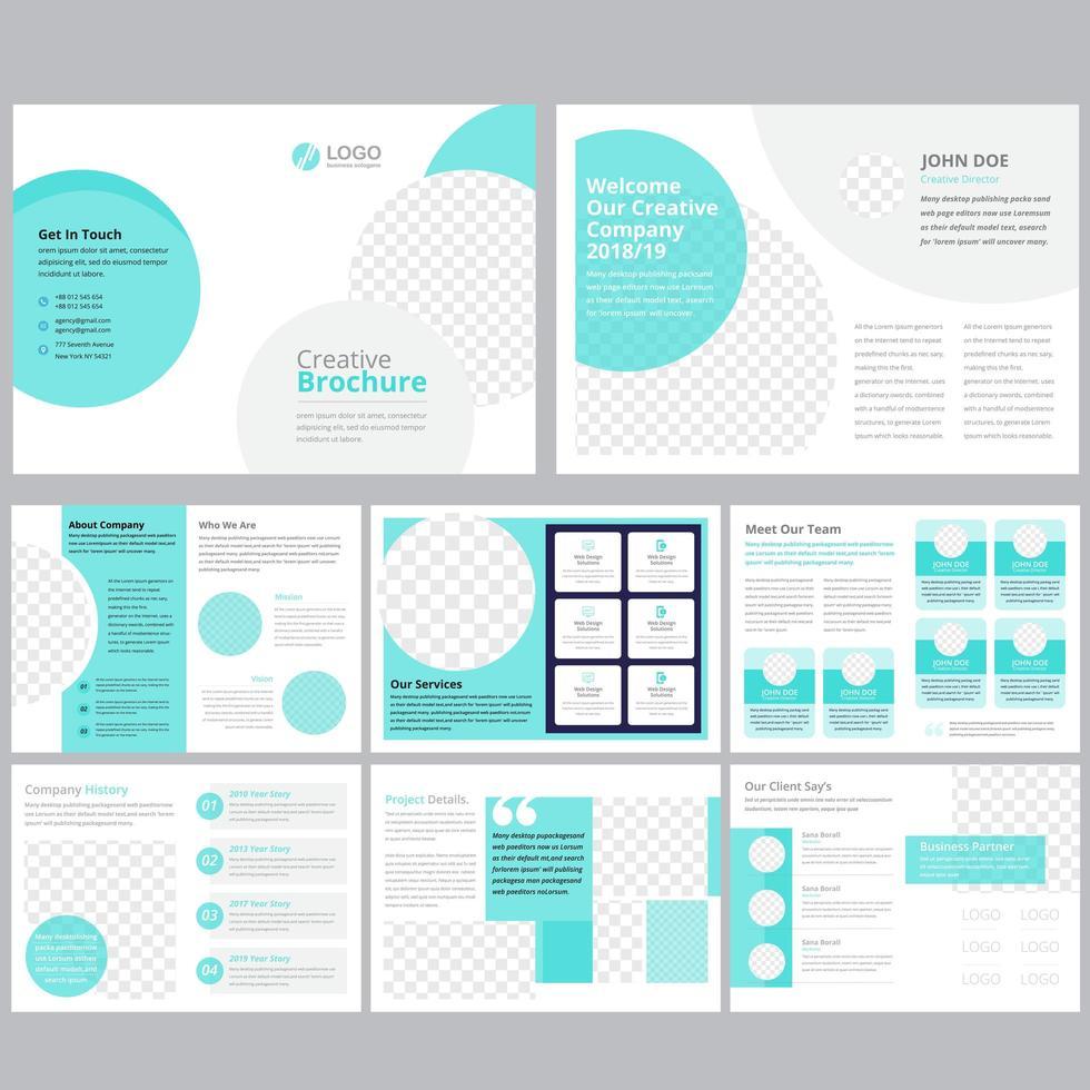 16 page light blue green business brochure template vector