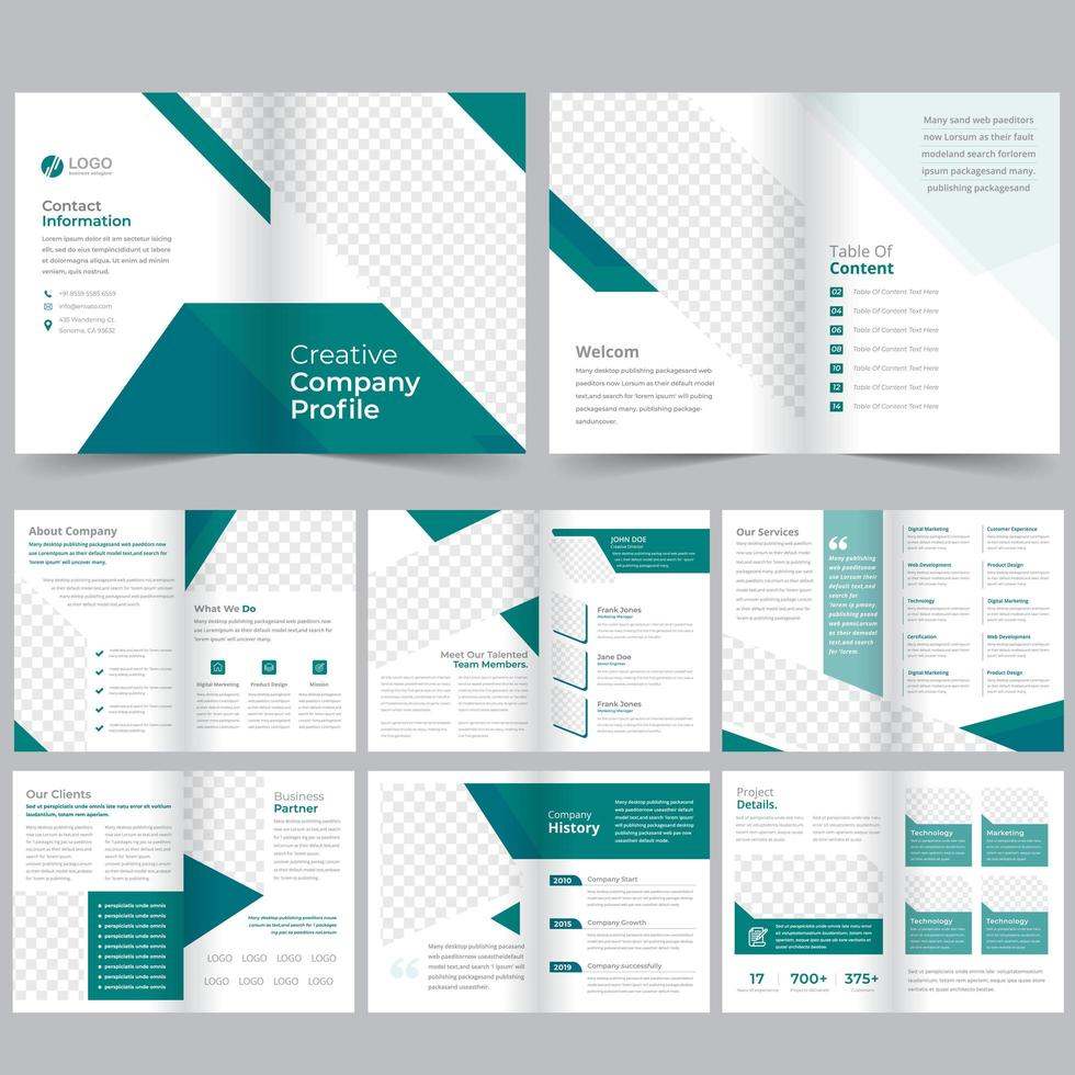 16 Page green and blue clean Brochure Template vector