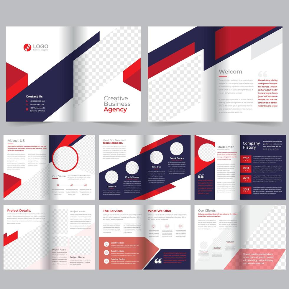 Plantilla de folleto comercial rojo púrpura de 16 páginas vector