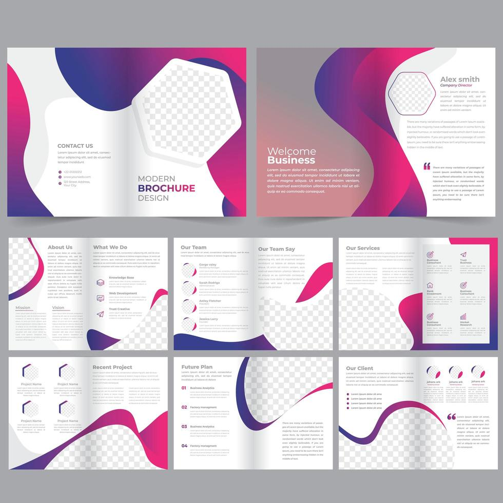 16 page pink and purple geometric business brochure template vector