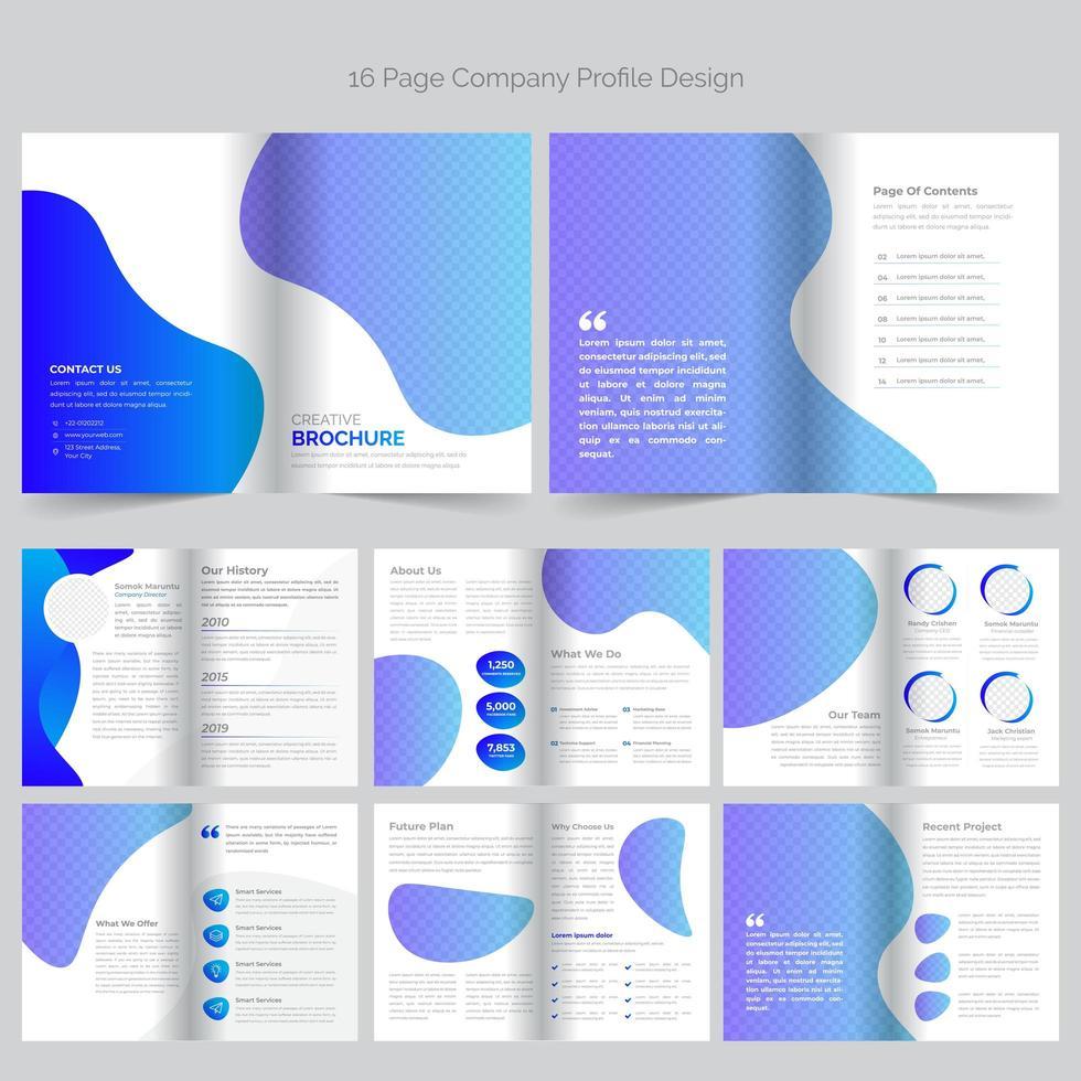 A4 Business Blue Purple Fluid Brochure Template vector