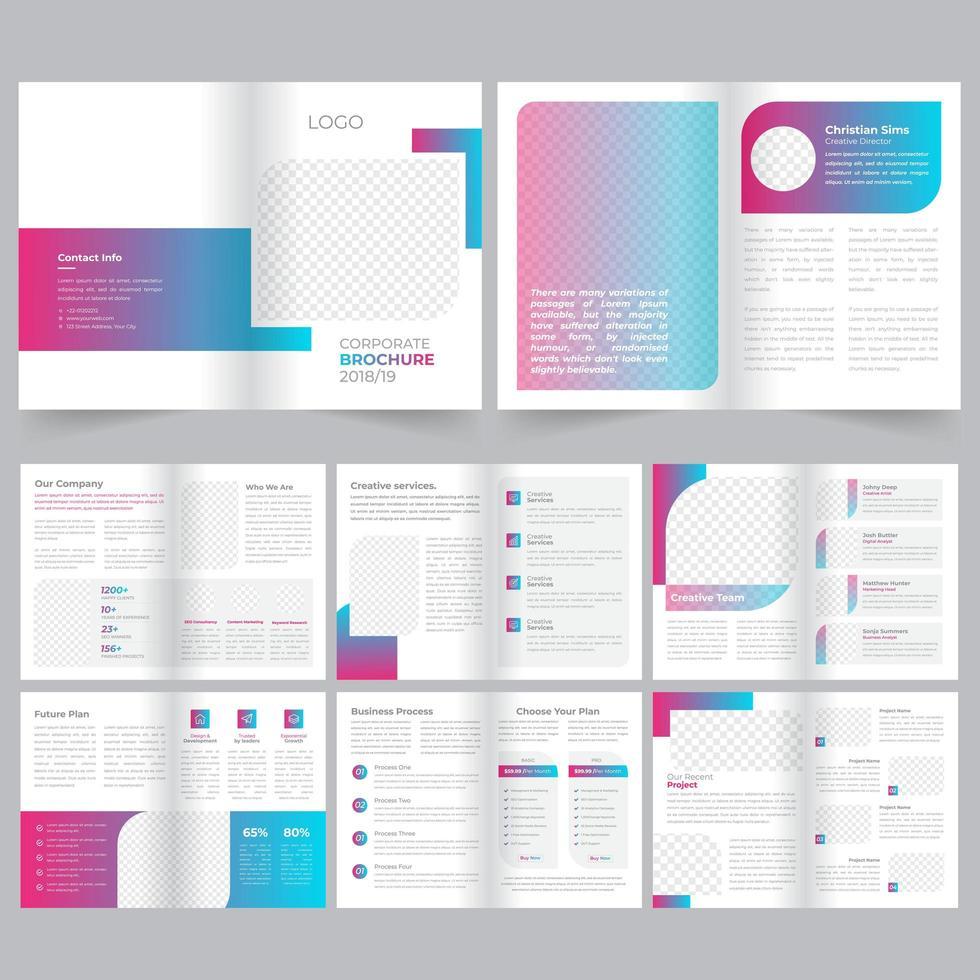 Plantilla de folleto - gradiente rosa azul de 16 páginas vector