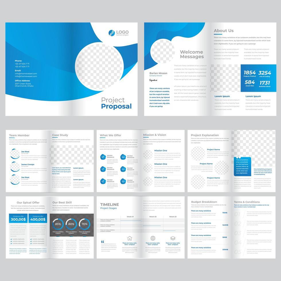 Plantilla de folleto comercial de 16 páginas vector