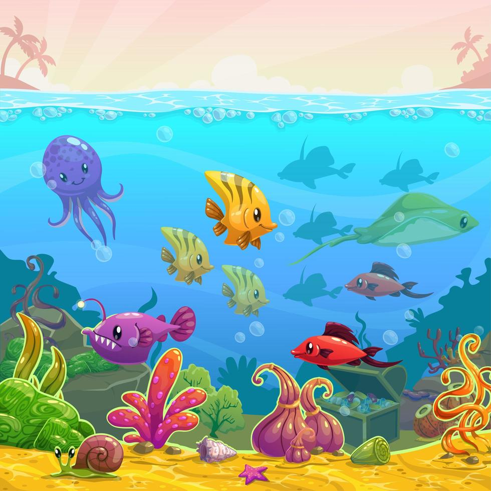 Escena submarina de divertidos dibujos animados vector