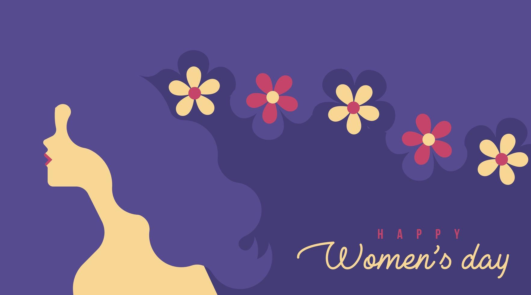 Feliz dia da mulher flor cabelo fundo vetor
