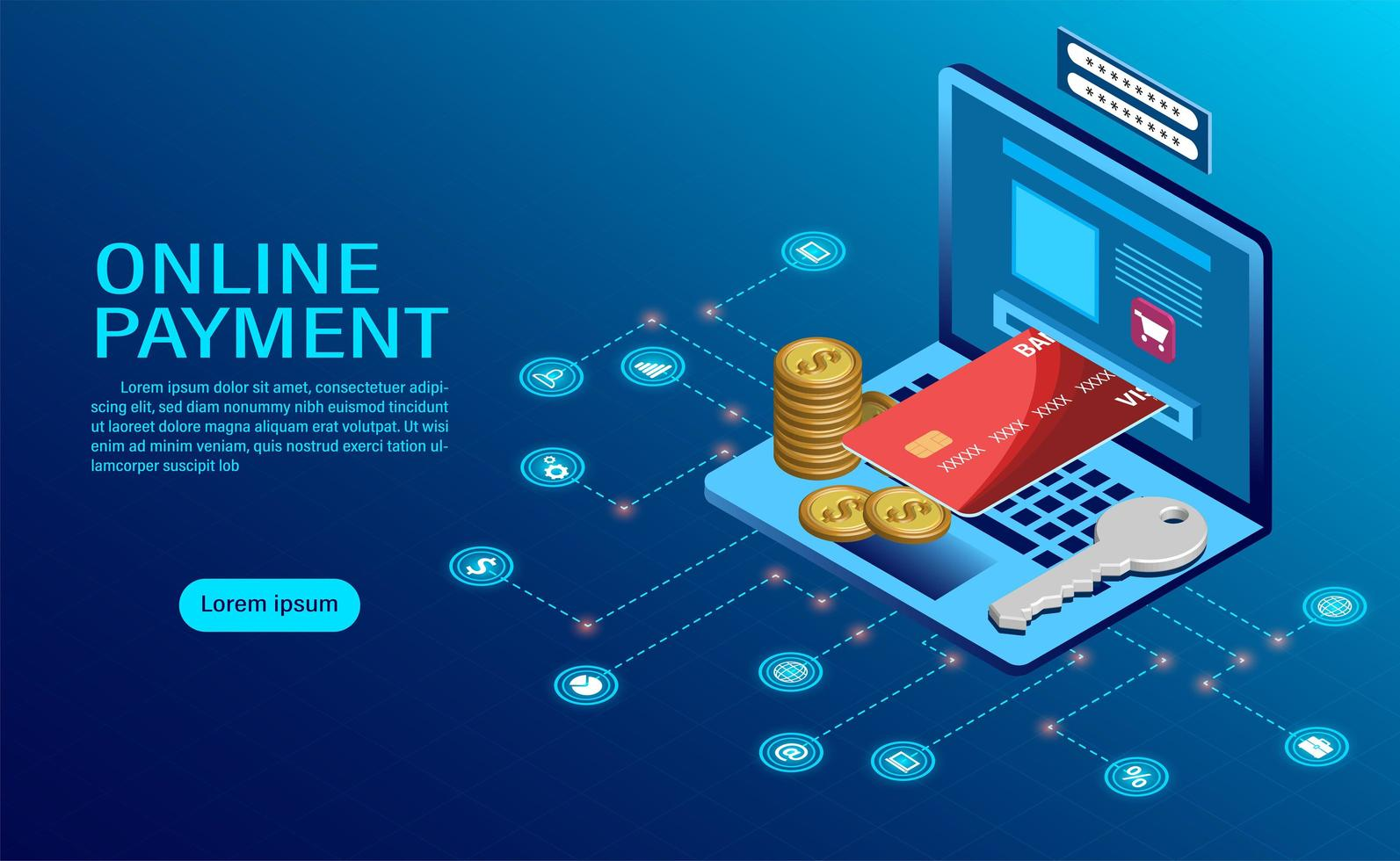 Online payment with computer concept vector