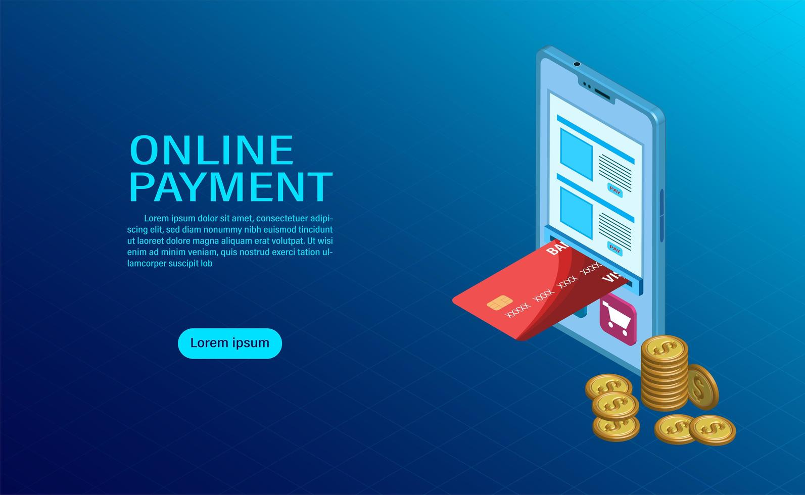 Online payment with mobile concept vector