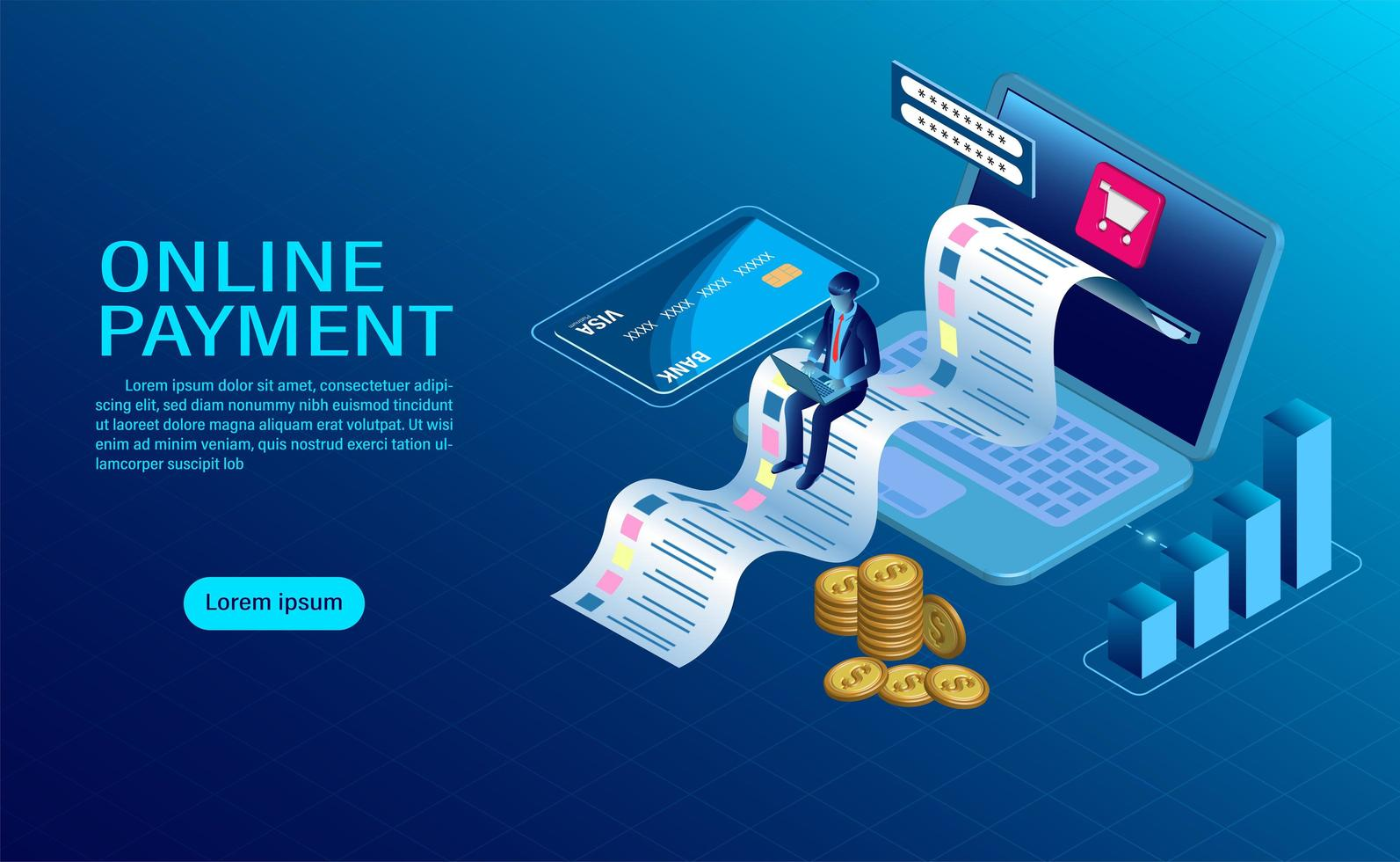 Online payment with computer landing page vector