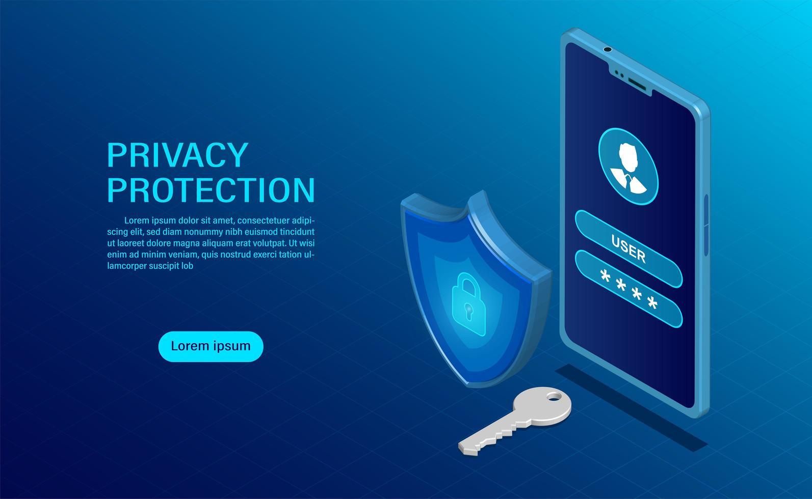 Concept de bannière de protection de la vie privée vecteur