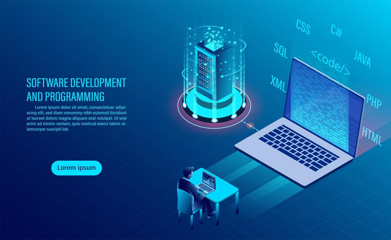 Desarrollo de software y página de inicio de codificación vector