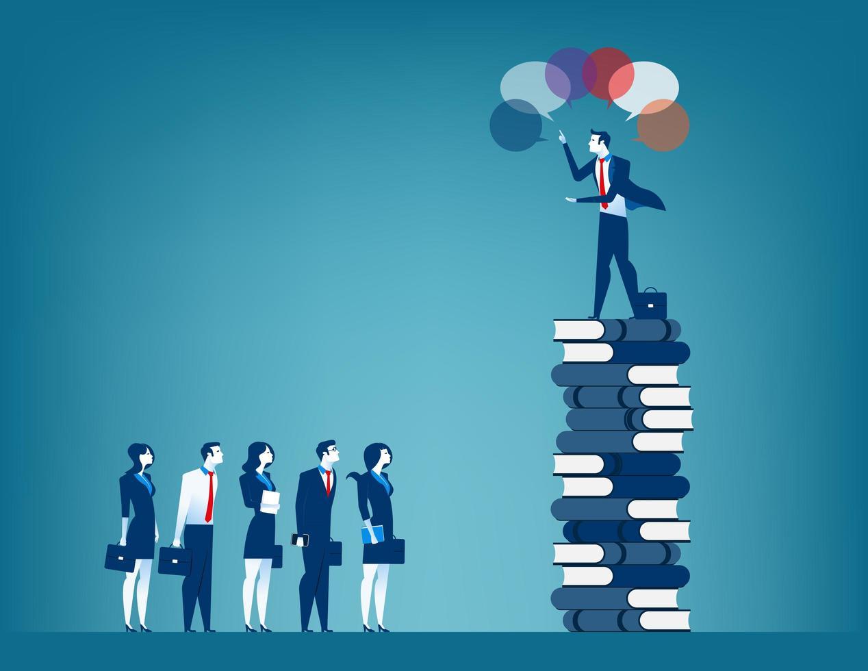Líder visionario de negocios y hablar con un grupo de empresarios. vector