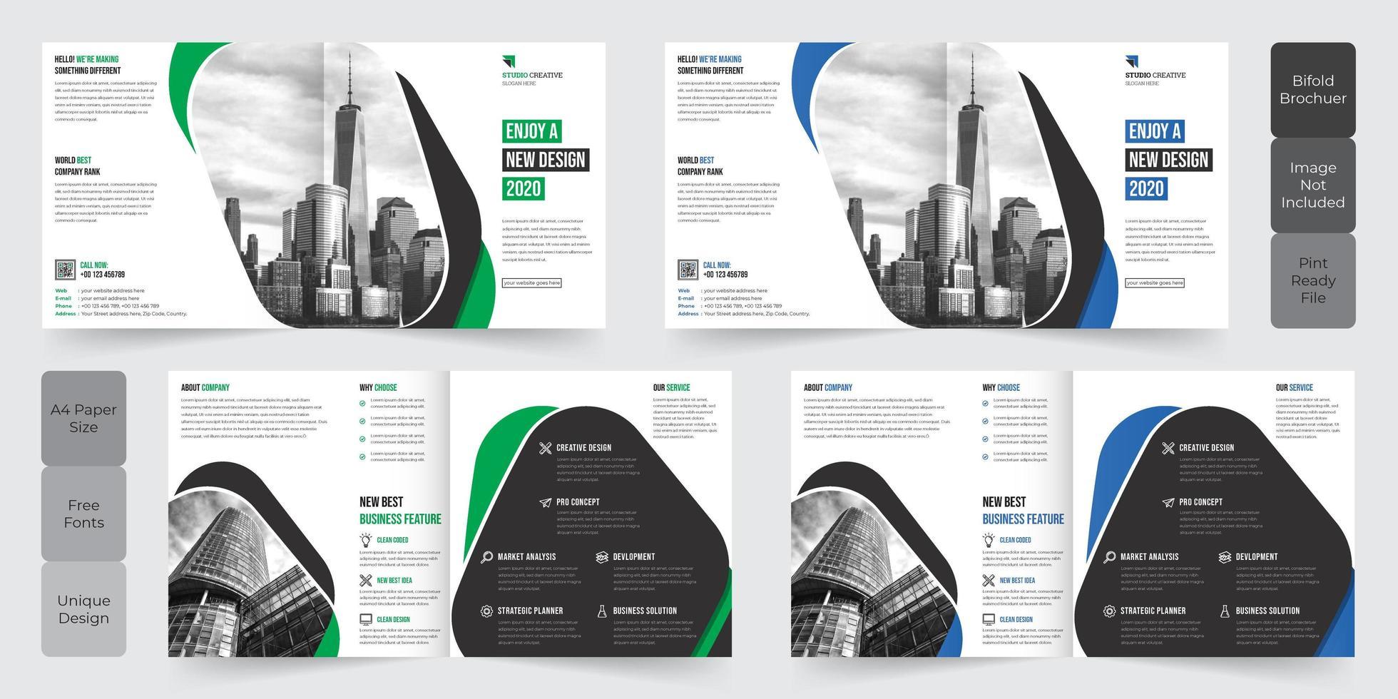 Diseño de folletos plegables de Corporate Business Square vector
