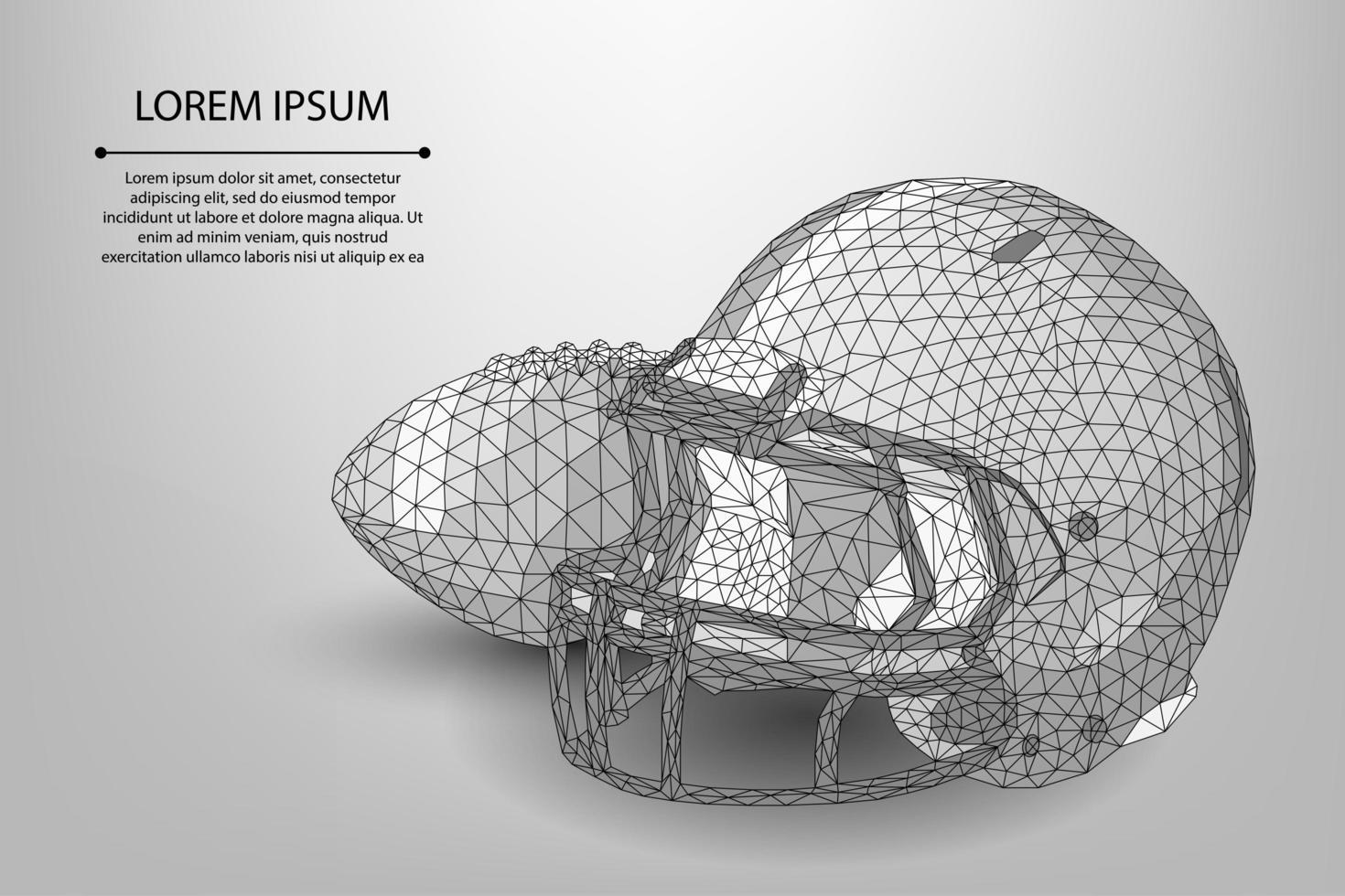Pelota y casco de fútbol americano de baja poli línea o rugby vector