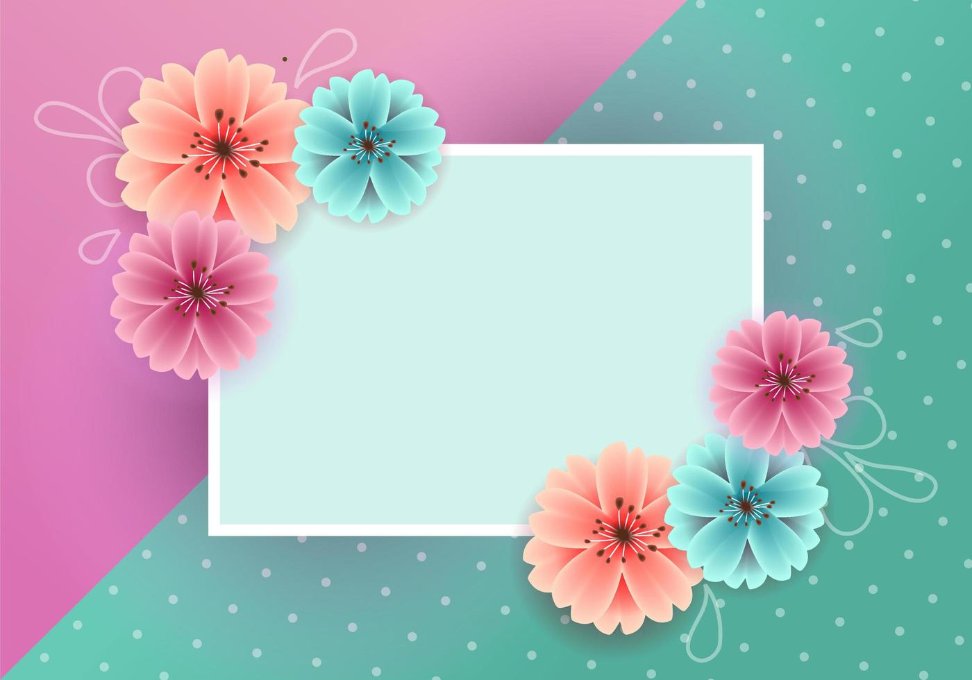 colorful spring background with beautiful flowers and