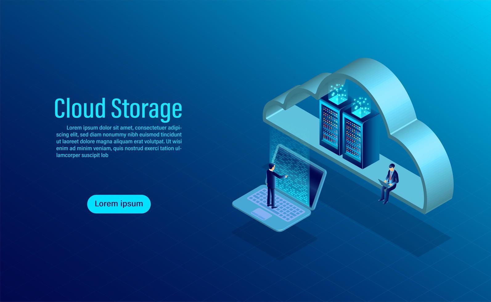 Page de destination du stockage cloud vecteur