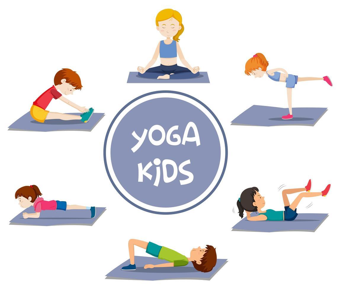 Conjunto De Actividades De Yoga Para Ninos Descargar Vectores Gratis Illustrator Graficos Plantillas Diseno