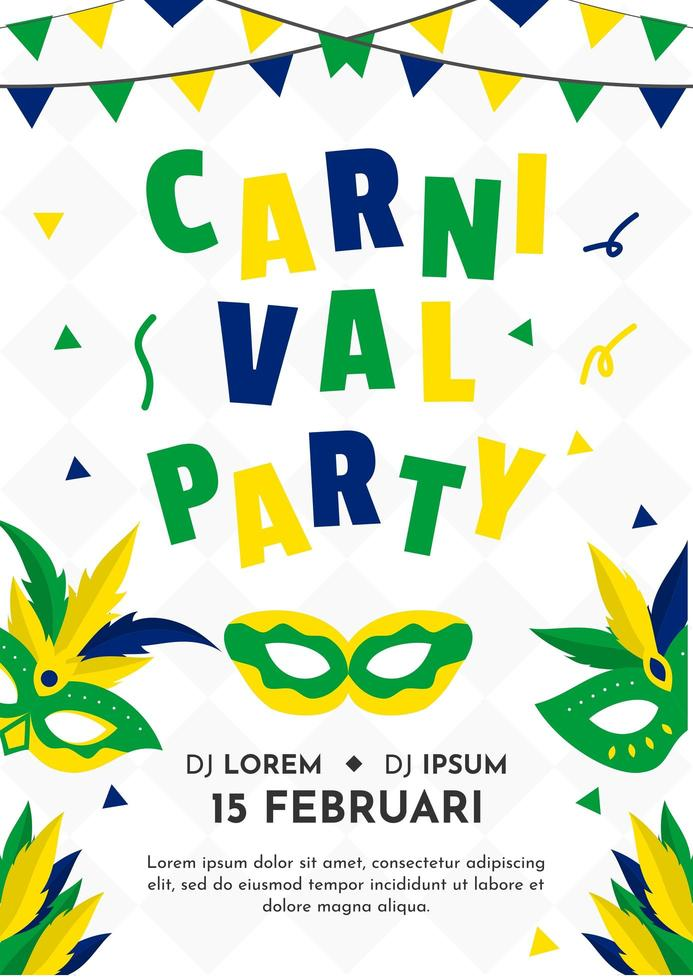 Poster con maschera e ghirlanda per il Carnevale del Brasile 2020 vettore