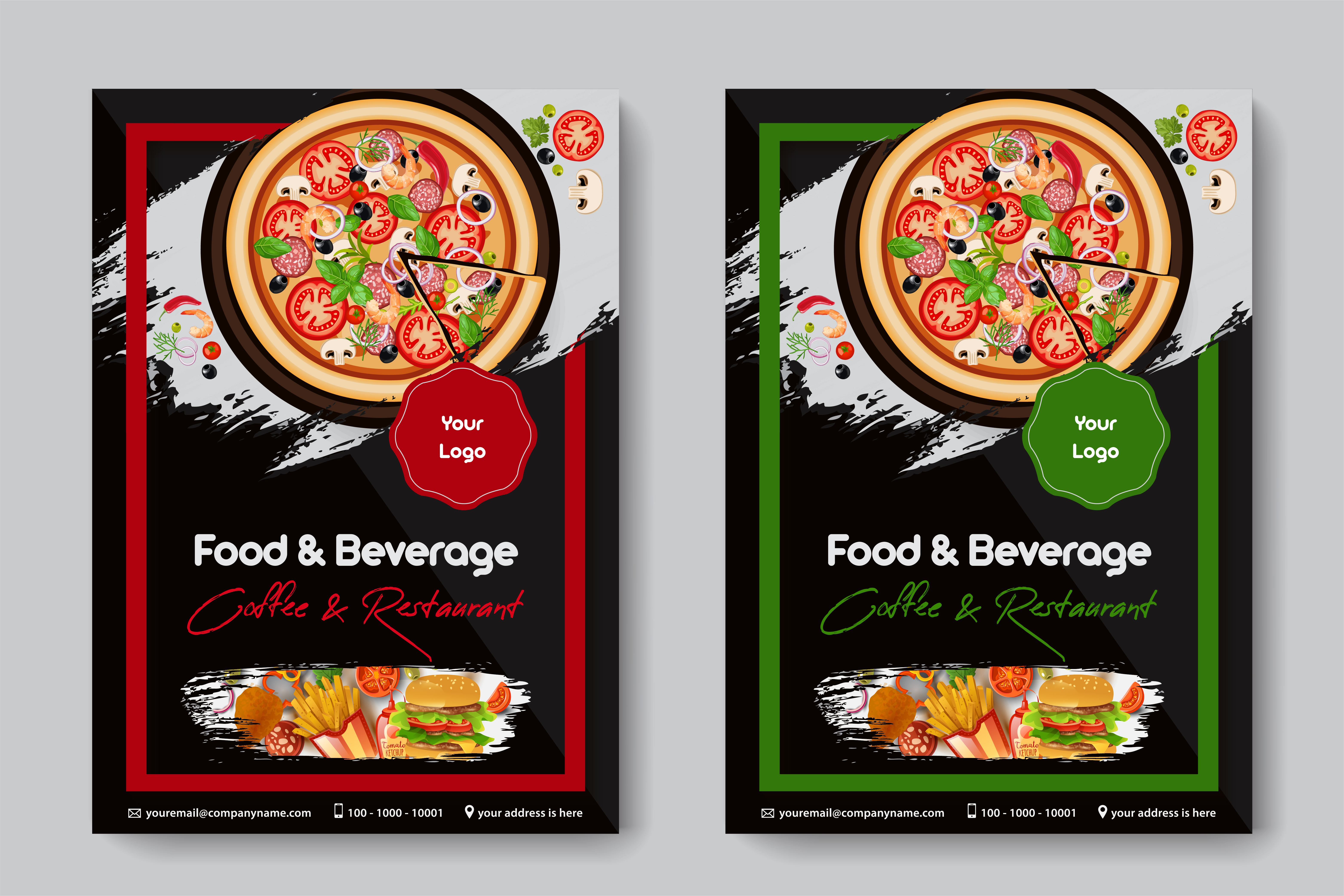 Food Restaurant A4 Size 2 Flyers Red And Green Frames Color Download Free Vectors Clipart Graphics Vector Art
