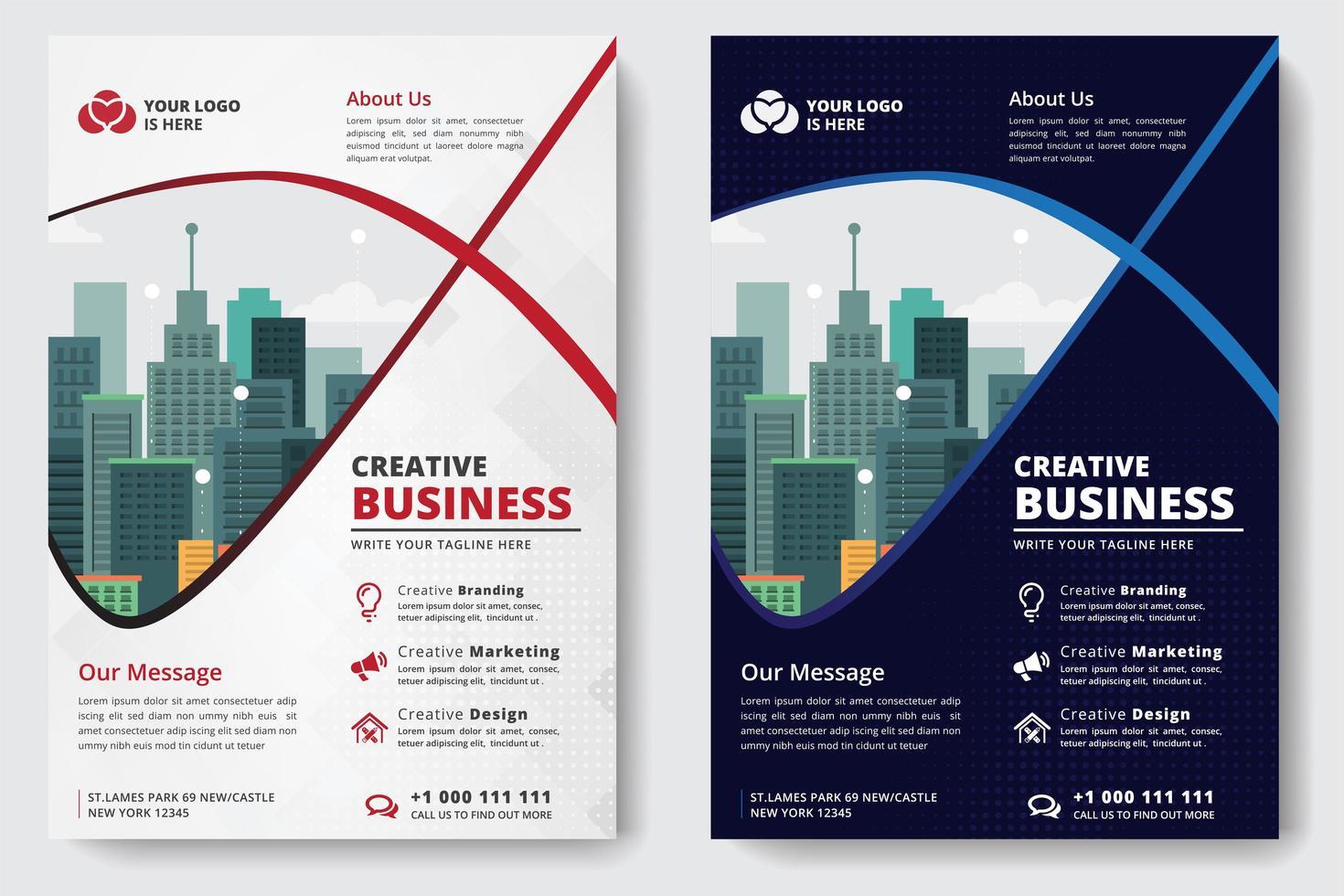 Business Flyer A4 Tamaño 2 Flyers color blanco y azul vector