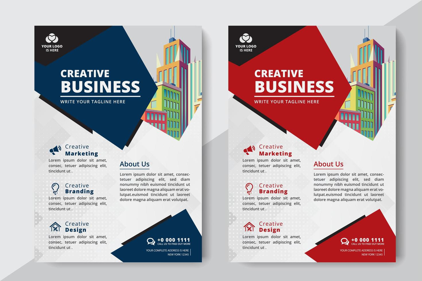 Business Flyer A4 Size 2 Flyers Red And Blue Color Download Free Vectors Clipart Graphics Vector Art