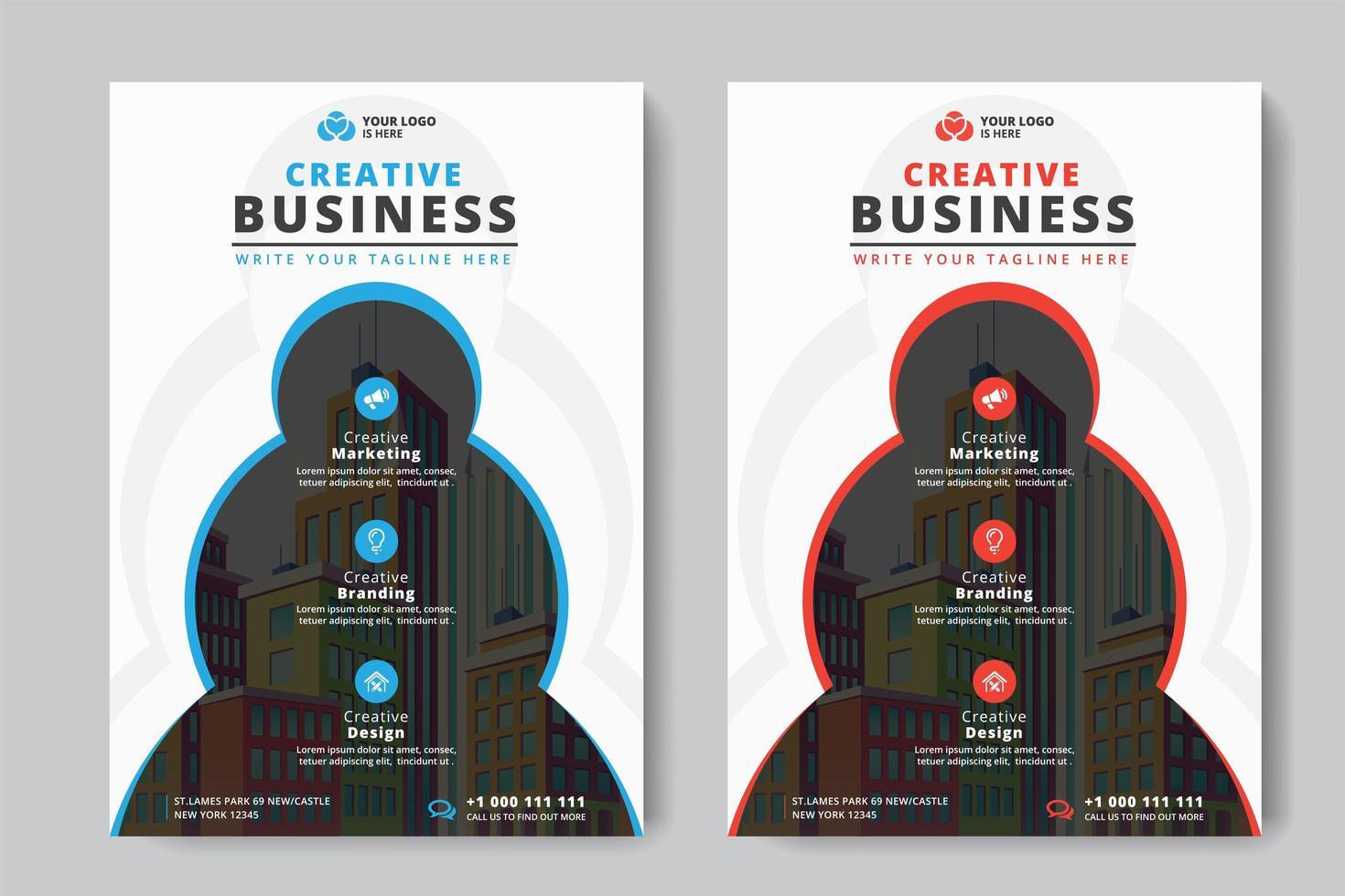 Business Flyer A4 Tamaño 2 Flyers Círculos y color rojo y azul vector