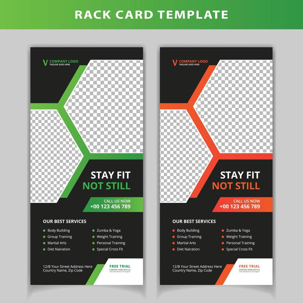 Green And Orange Hexagon Shape Rack Card Template Download Free Vectors Clipart Graphics Vector Art