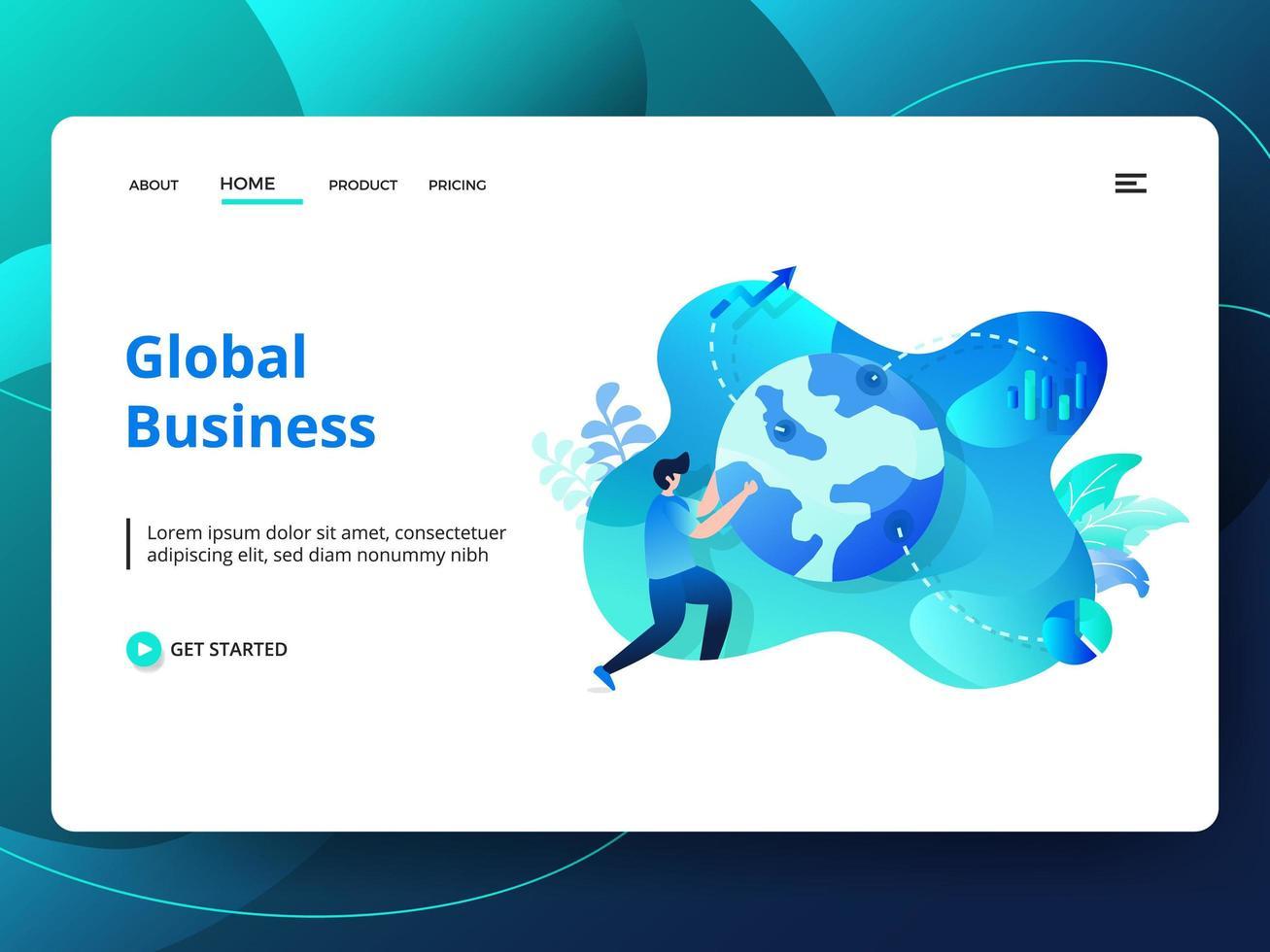 Plantilla de sitio web de negocios globales vector