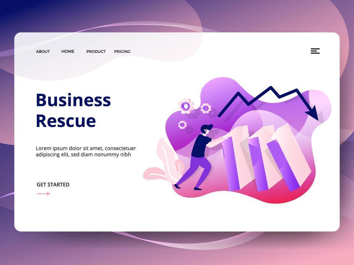 Plantilla de sitio web de Business Rescue vector