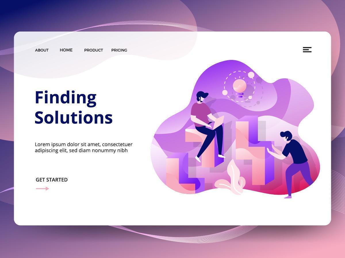 Encontrar la plantilla del sitio web de soluciones vector