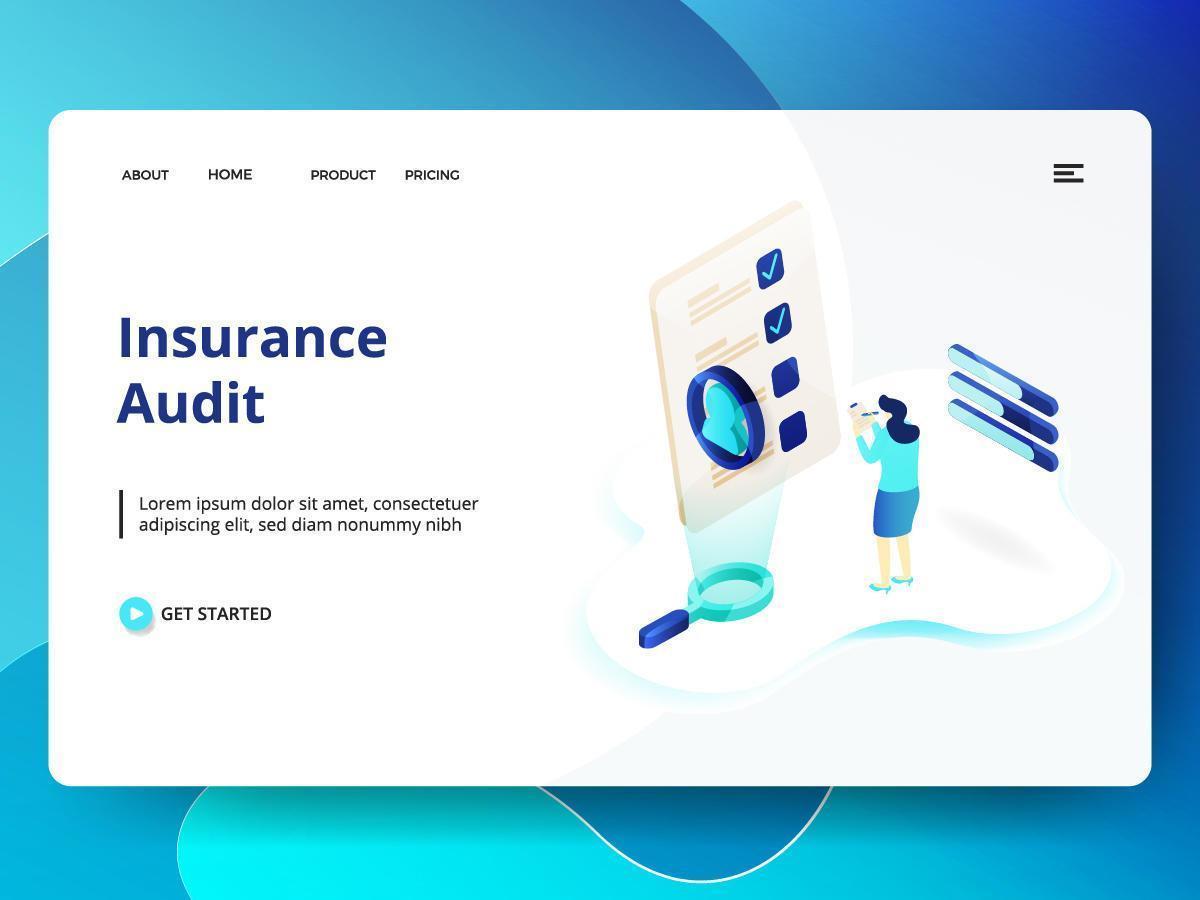 Modelo de site de auditoria de seguros vetor