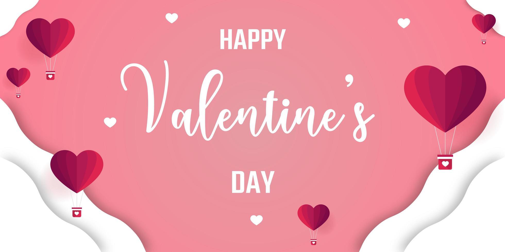 Bannière de la Saint-Valentin avec des ballons coeur origami vecteur