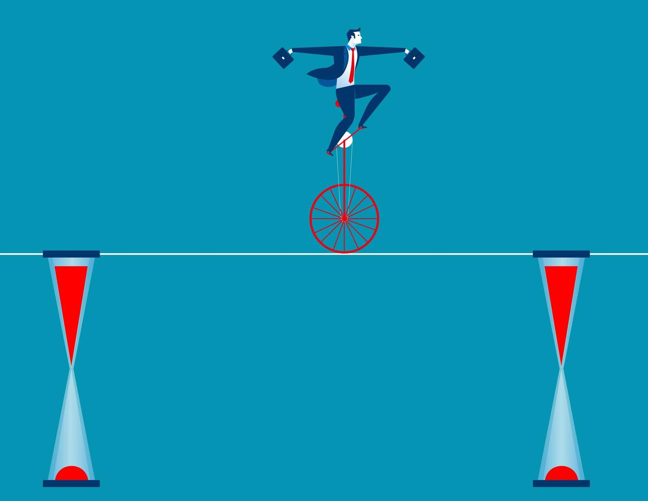 Businessman cycling on rope vector