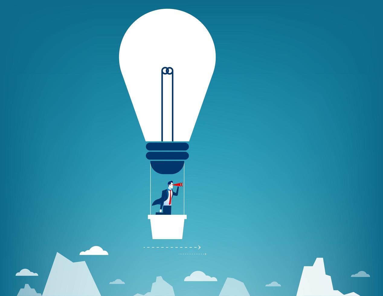 Geschäftsmann, der in den Himmel auf Heißluftballon fliegt. Blick über Berggipfel vektor