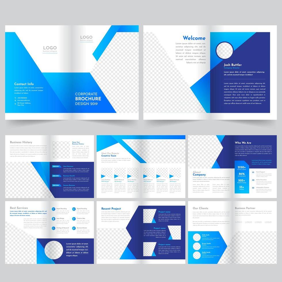 Plantilla de folleto comercial temático azul vector