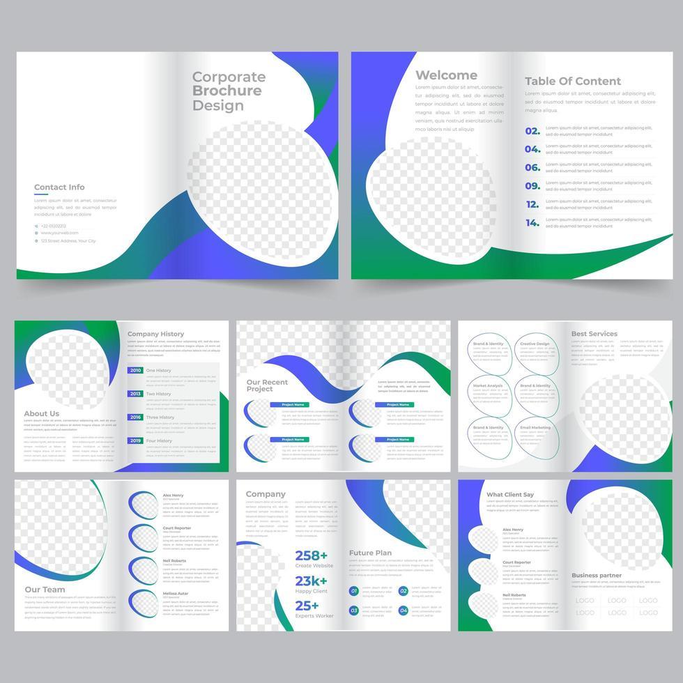 Plantilla de folleto corporativo empresarial gradiente verde azul vector