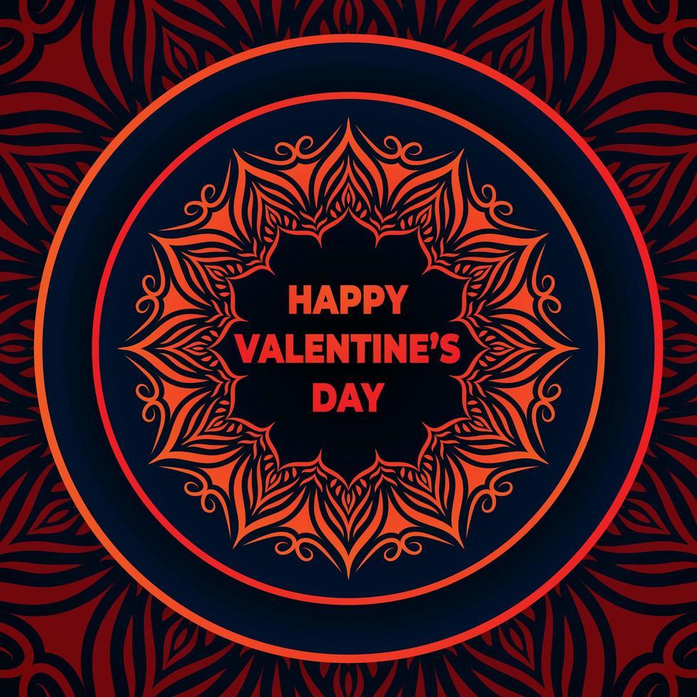 Feliz día de san valentín con fondo de mandala vector