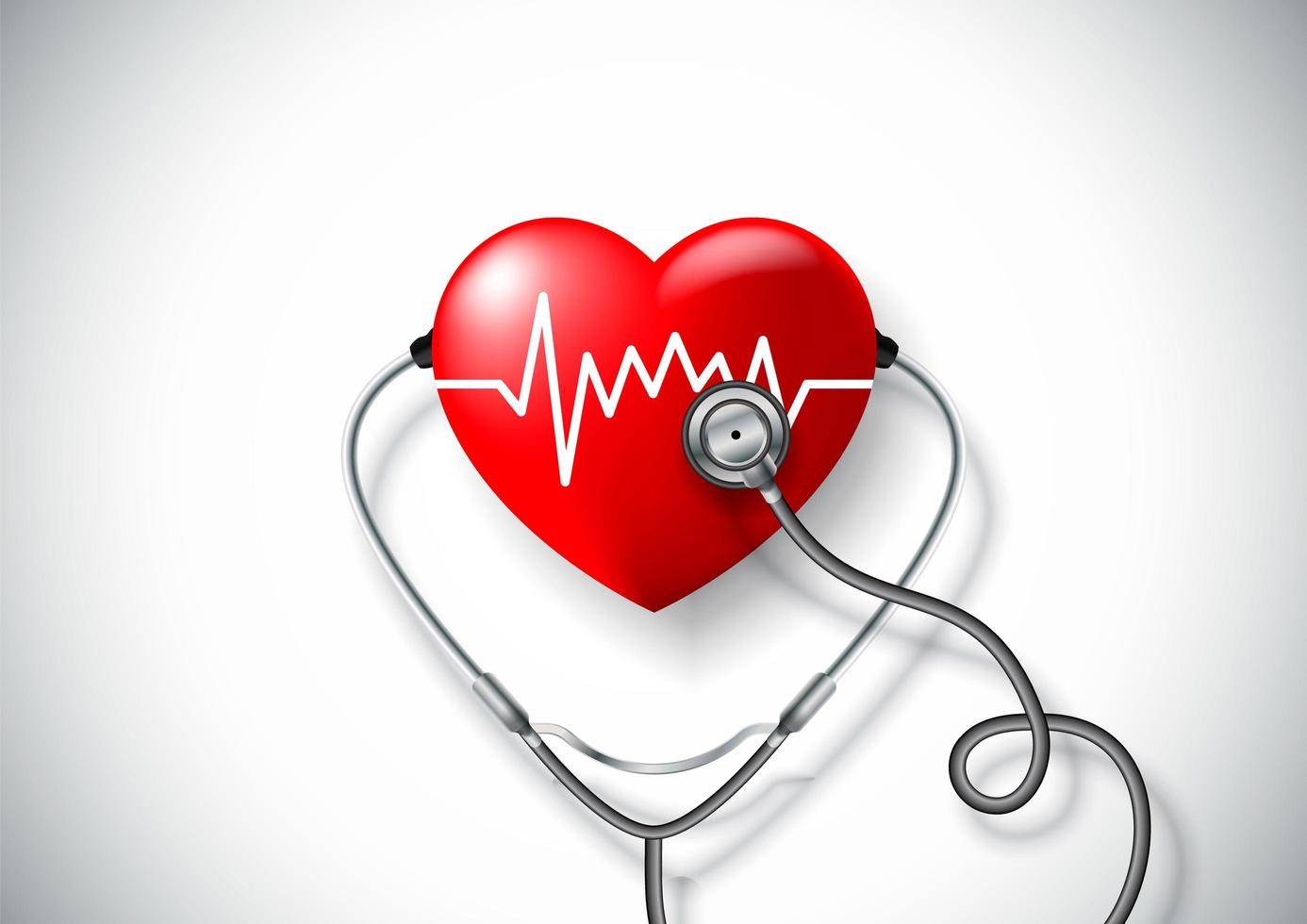 World health day concept with heart and stethoscope vector