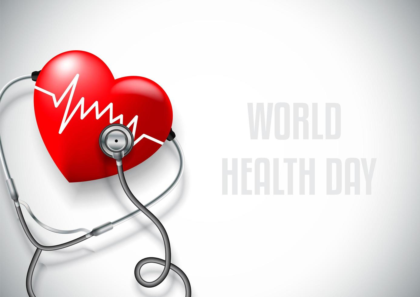 World health day concept with pulse on heart vector