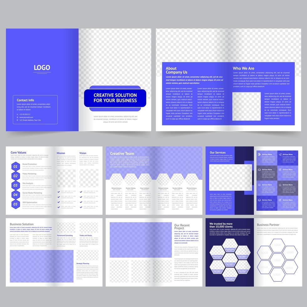Plantilla de folleto comercial o de empresa en púrpura vector