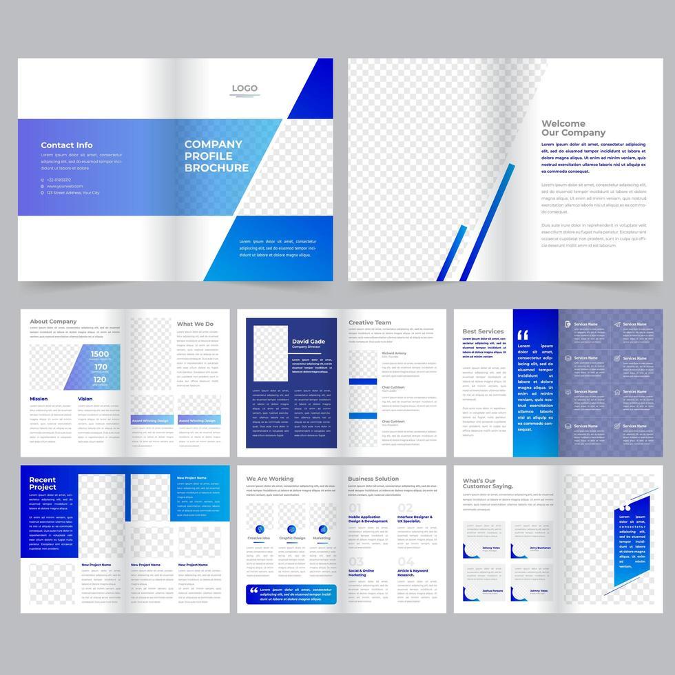 Plantilla de folleto corporativo azul vector