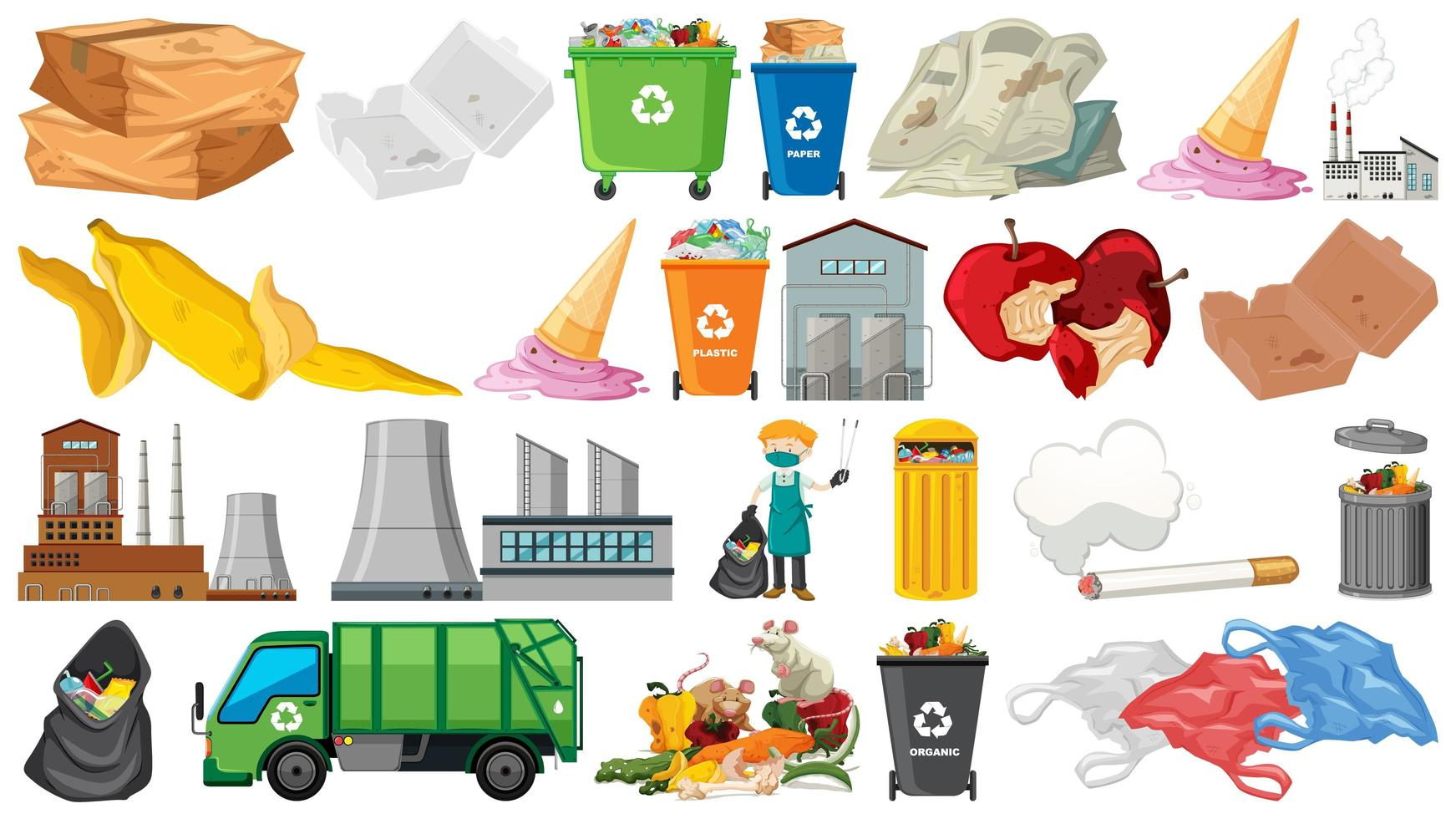 Collection of trash and pollution themed objects vector