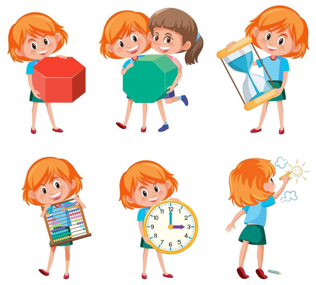 Children holding math objects vector
