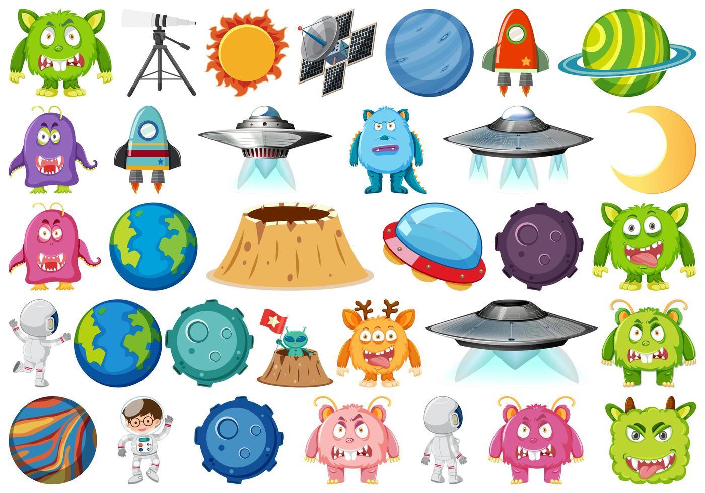 Conjunto de elementos espaciales del planeta vector