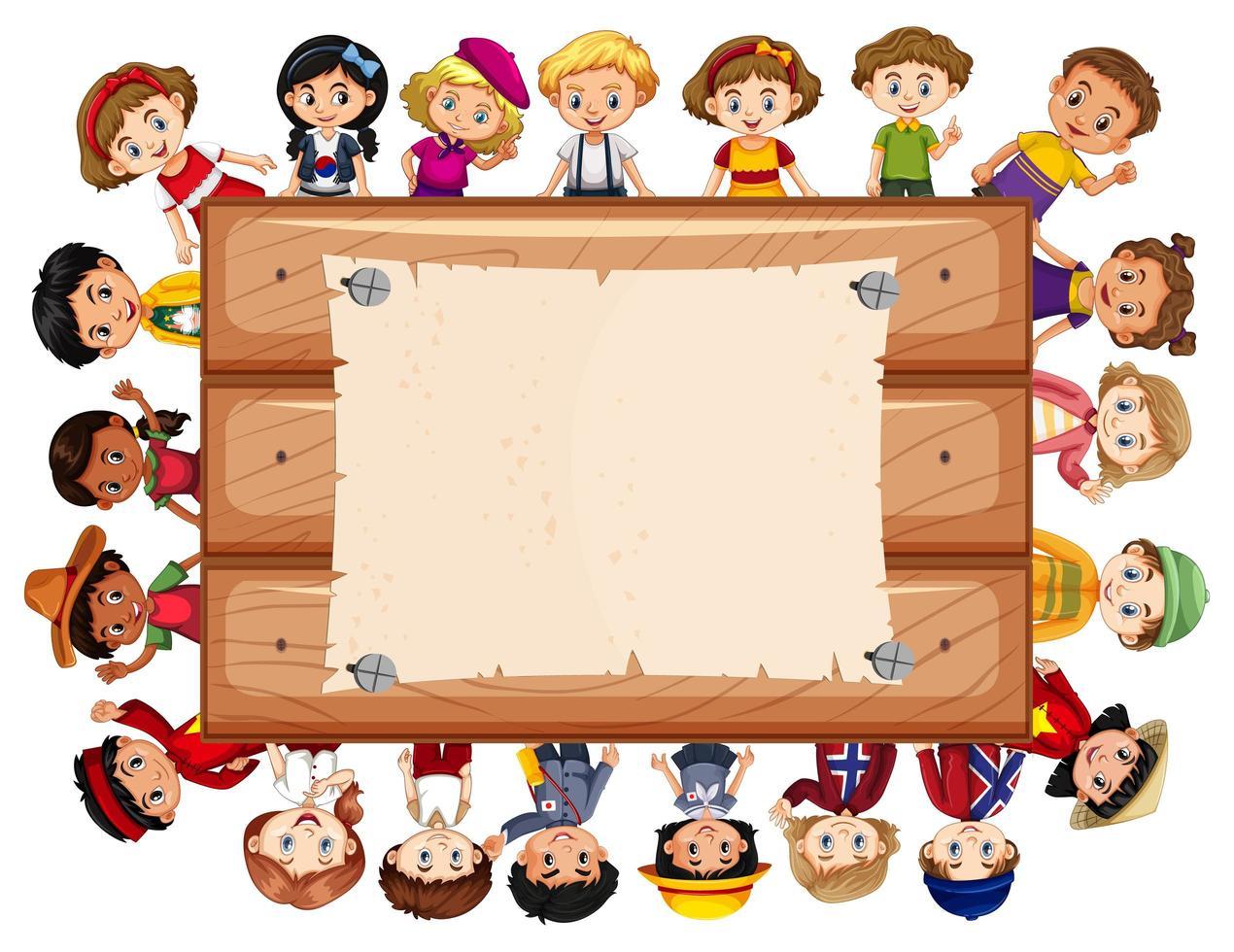Diseño de plantilla de banner con muchos niños vector