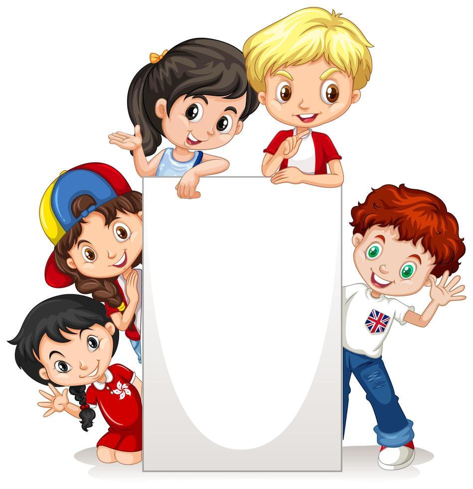 Plantilla de marco con niños felices vector
