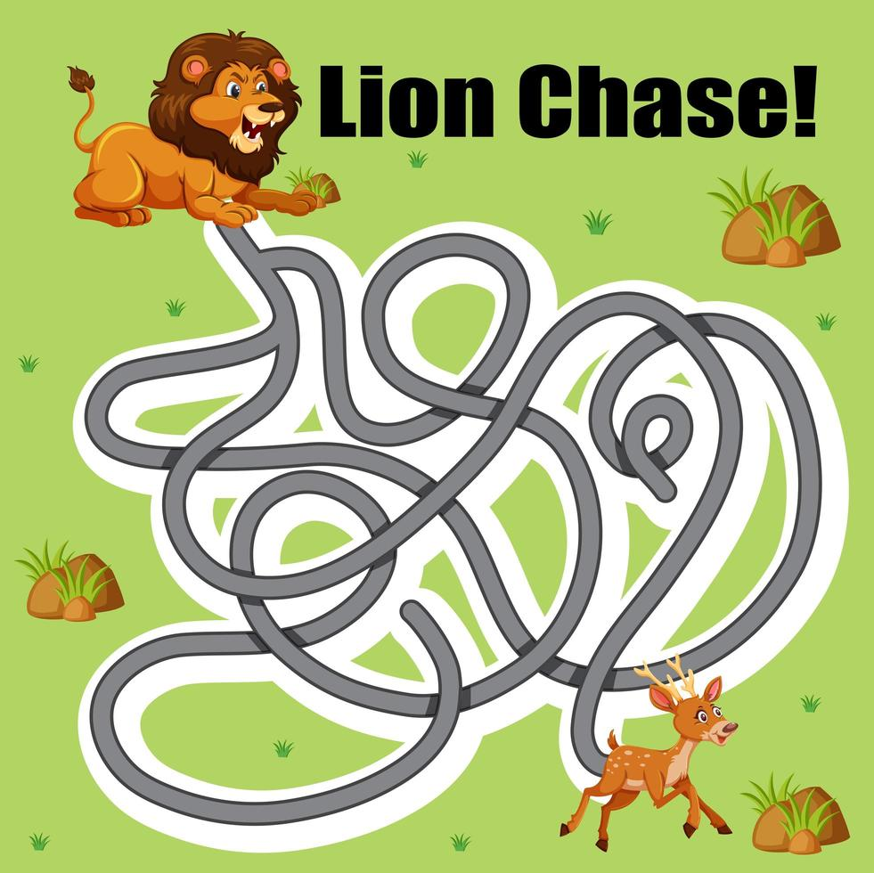 Lion chase deer maze game vector