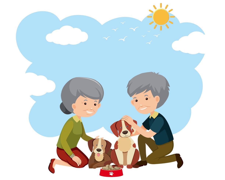 Una pareja de ancianos y perros vector