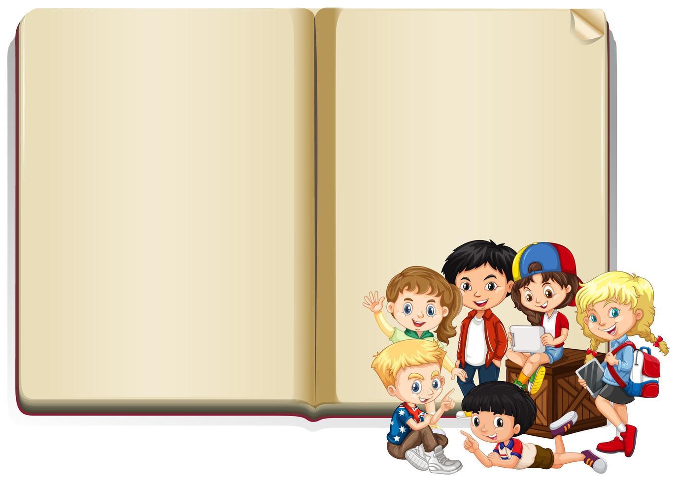 Banner de libro en blanco con niños en frente vector