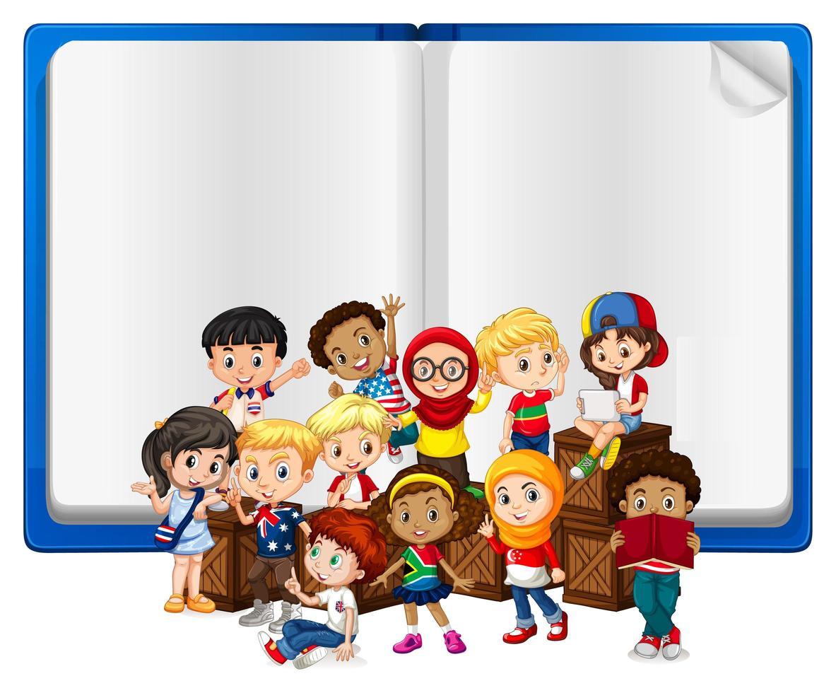 Plantilla de libro en blanco con niños vector