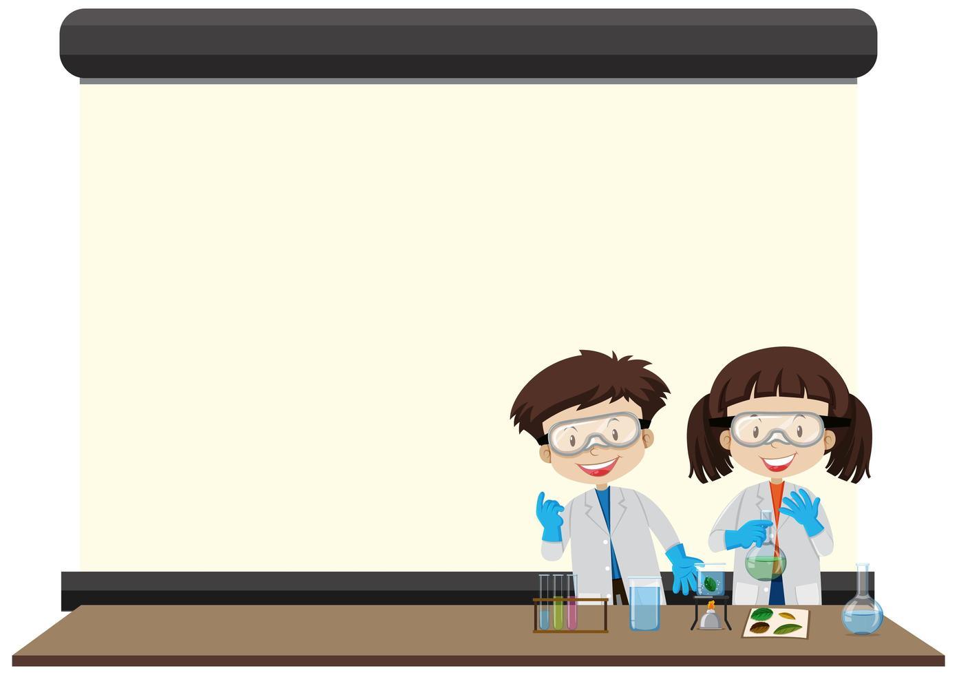 Plantilla de marco de ciencia con niños vector
